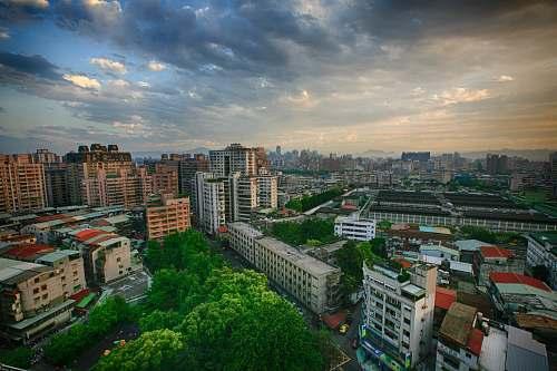 city birds eyeview of city landscape