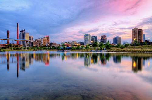 building landscape photography of cityscape by water reflection