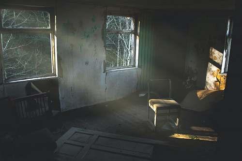 furniture broken glass window abandoned