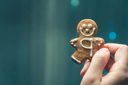 photo cookie person holding brown cookie gingerbread free for commercial use images