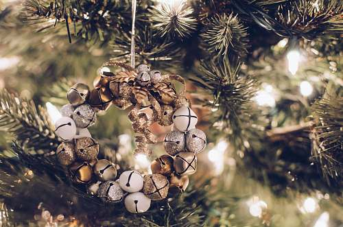 photo holiday brown and brass-colored bauble hanging decor christmas tree free for commercial use images