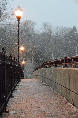 winter photo of turned on street lights near railing snow