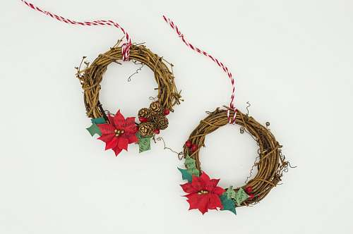 photo ornament two poinsettia wreathes christmas wreath free for commercial use images