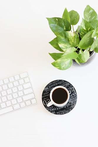 white black liquid in white ceramic cup beside keyboard workspace