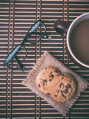 food chocolate chip cookies and eyeglasses breakfast