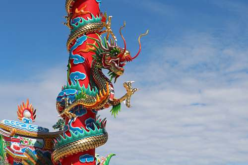 architecture red and green dragon art work building