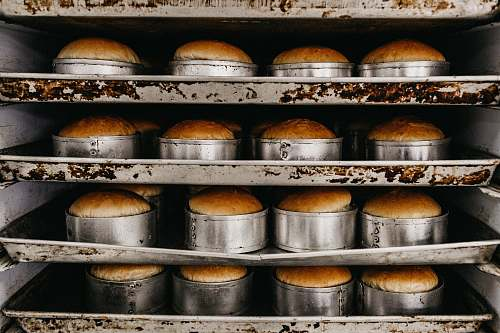 photo bread baked cake inside oven shelf free for commercial use images