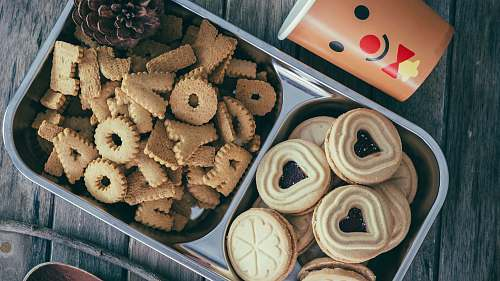 photo sweets biscuits on stainless steel tray confectionery free for commercial use images