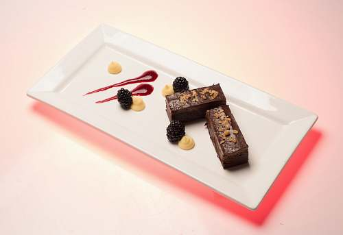 photo dessert rectangular white ceramic plate with cakes chocolate free for commercial use images