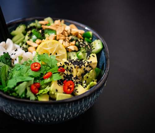 bowl vegetable salad in gray bowl plant
