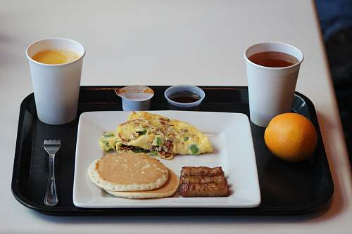 photo food egg omelet with sausage, pancake and coffee on tray citrus fruit free for commercial use images