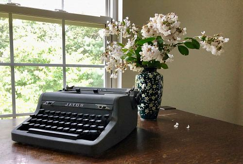 photo gray Royal typewriter near white flowers in vase on brown table free for commercial use images