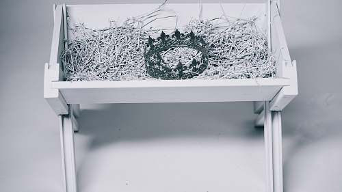 christmas grayscale photo of crown in bassinet ice
