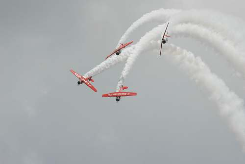 photo airplane four red biplanes air exhibition aircraft free for commercial use images