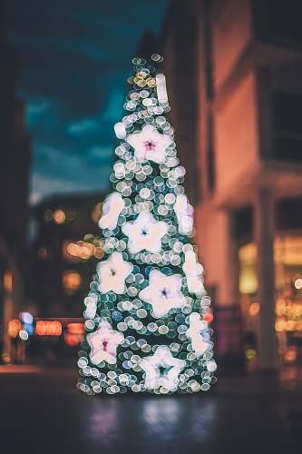 plant pink and white floral textile christmas tree