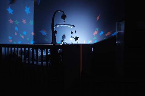 cot baby's black wooden crib with LED crib mobile crib