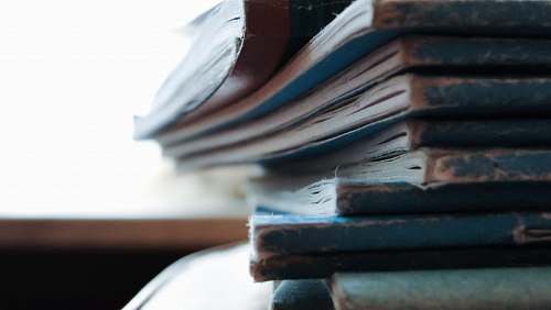 photo books stacked blue notebooks paper free for commercial use images