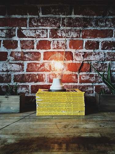 portland light bulb on pile of books light