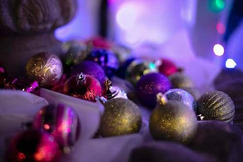 glitter assorted Christmas baubles light