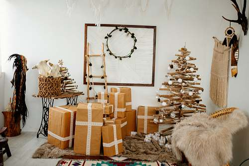 photo antler brown cardboard brown beside brown Christmas tree inside room during daytime vietnam free for commercial use images