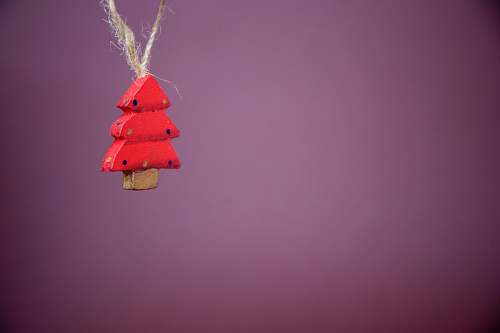 grey hanged red wooden christmas tree ornament tree