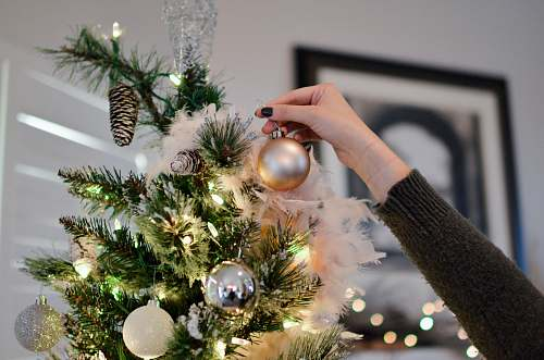 tree person putting bauble on top of Christmas tree holiday