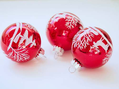 photo ornament three red baubles red free for commercial use images