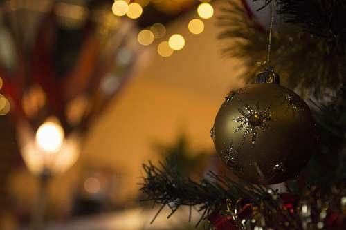 ornament tilt-shift lens photo of gold Christmas bauble brown
