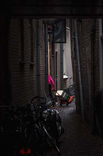building black motor scooter urban