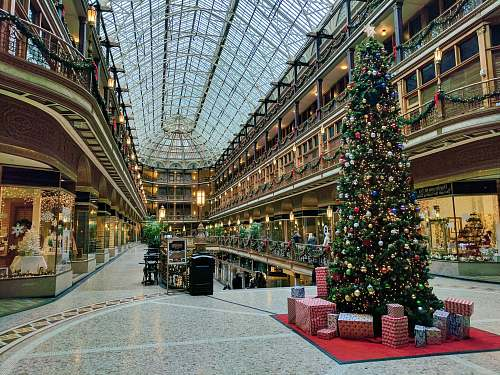 photo architecture state of the art building interior with lit Christmas tree building free for commercial use images
