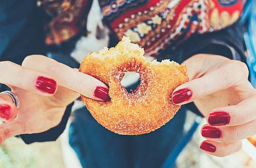 photo sweet woman holding donut doughnut free for commercial use images