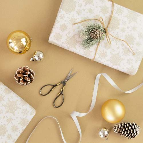 scissors flat lay photography of baubles and scissors linen