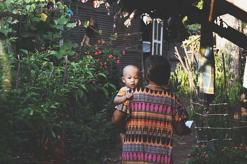 photo person woman carrying child near green leafed plants people free for commercial use images