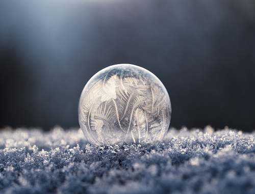 winter focus photo of round clear glass bowl ice