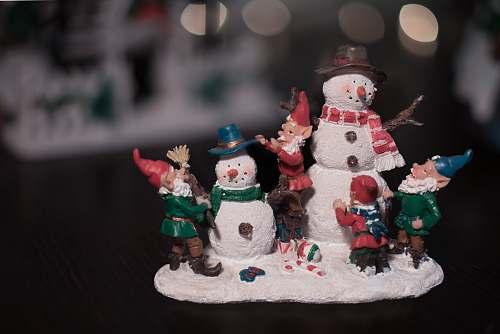 outdoors multicolored snowman figurine snowman