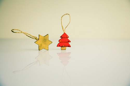 christmas star and red tree Christmas tree ornaments holiday