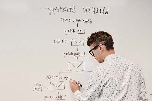 human man writing on whiteboard white board
