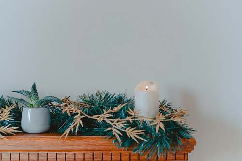 photo pot candle with garlands on shelf flora free for commercial use images