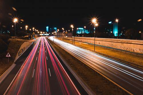 photo freeway lighted cars passing highway highway free for commercial use images