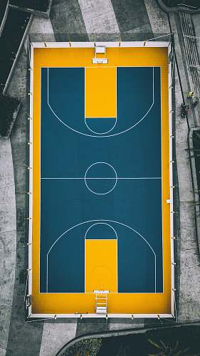 basketball aerial view photography of yellow and blue basketball court yellow