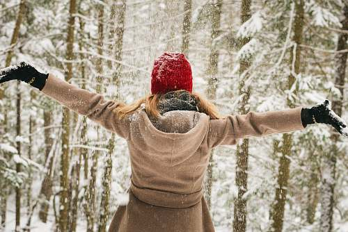 woman woman wearing hoodie spreading her arm near trees with snows lake placid