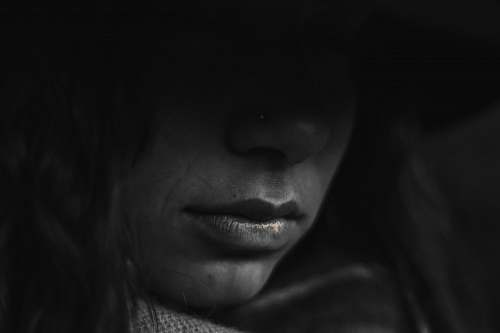 human grayscale photo of person's lips face