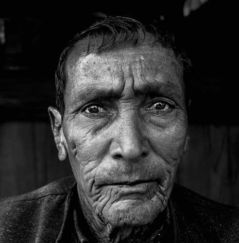 portrait macro shot of man face