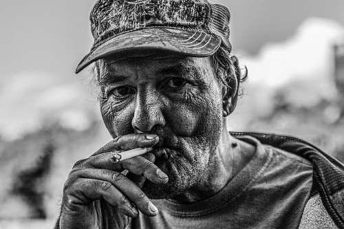 face man smoking cigarette portrait