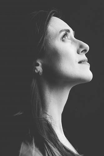 black-and-white grayscale photography of woman grey