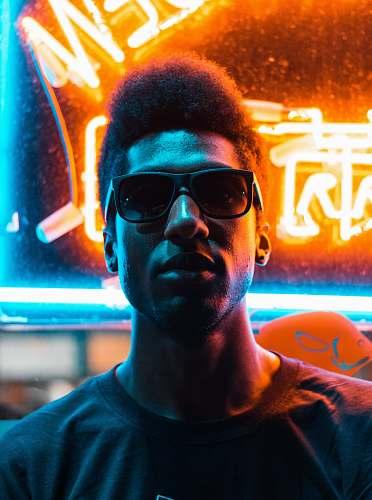 person man wearing black sunglasses portrait
