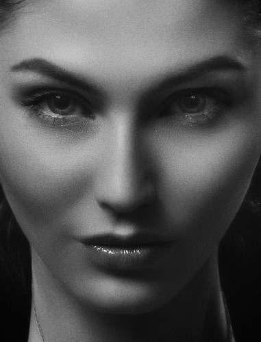 black-and-white women's portrait face