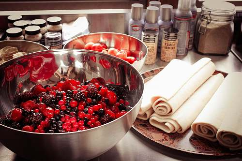 plant raspberry in gray steel bowl food