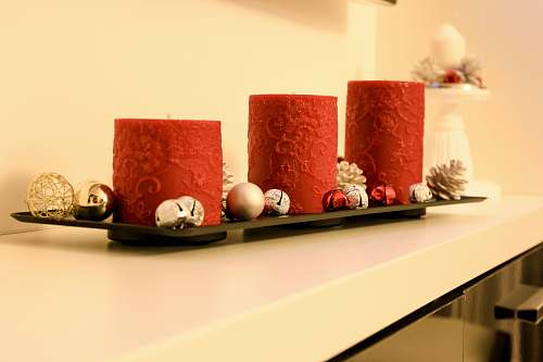 photo furniture three red pillar candles on black holder table free for commercial use images