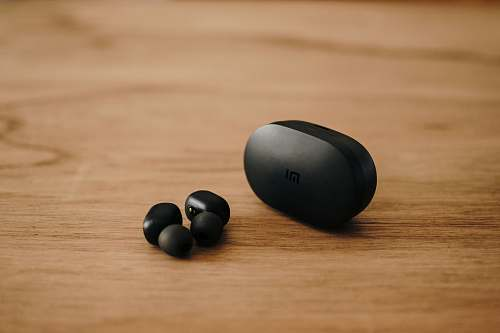 photo mouse pair of black wireless canalbuds hardware free for commercial use images